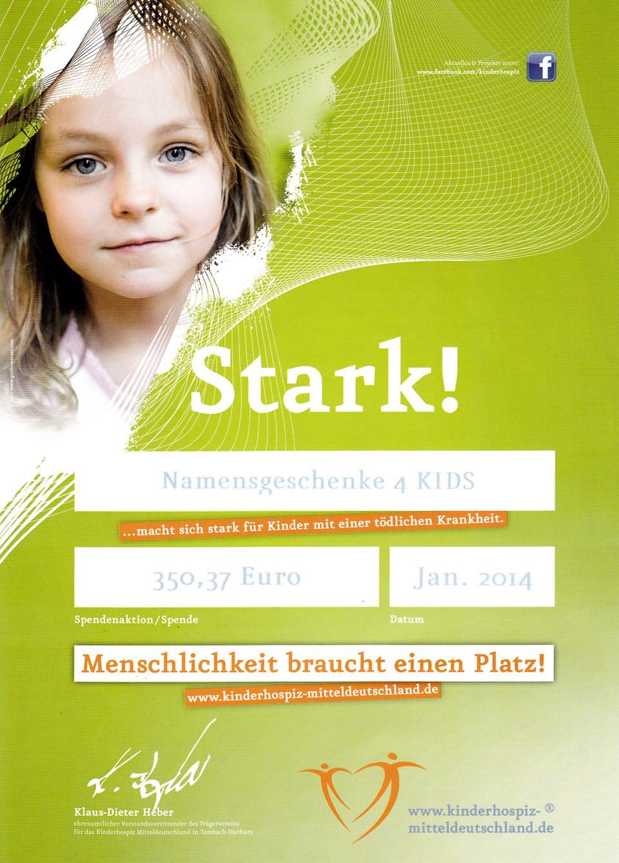 Urkunde und Spendenquittung für das Kinderhospiz Mitteldeutschland