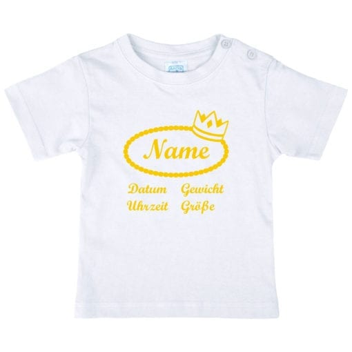 Baby T-Shirt mit Namen in gelb