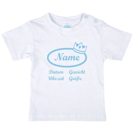 Baby T-Shirt mit Namen in hellblau