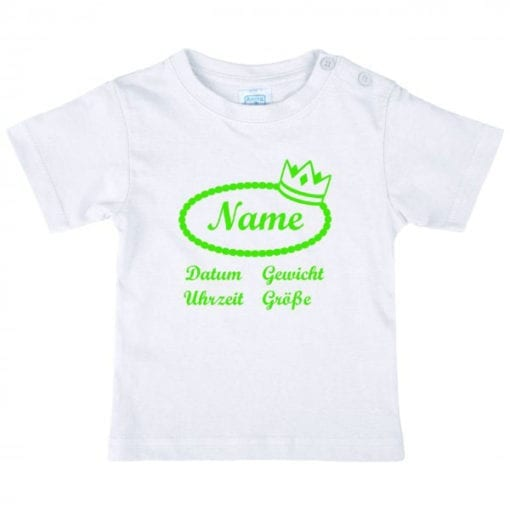 Baby T-Shirt mit Namen in neangrün