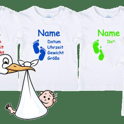 T-Shirt für Baby mit Namen und Geburtsdaten