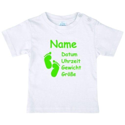 Baby T-Shirt mit Namen in neaongrün